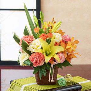 アレンジメント「和花の贈り物〜山吹〜」