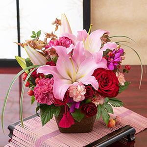EXアレンジメント「和花の贈り物〜茜〜」