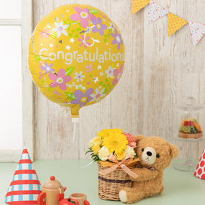 EXアレンジメント「ぷわぷわバルーン〜Congratulations&プレゼント〜クマさんの贈り物」
